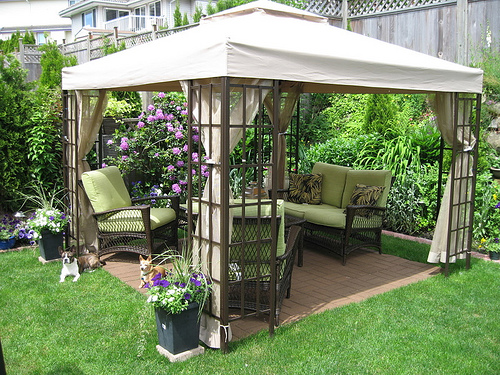 Cool backyard ideas with gazebo vivalavintage for your for Cheap patio privacy ideas